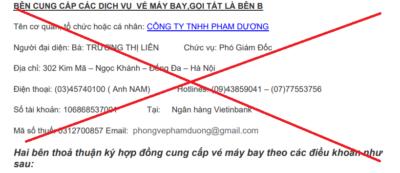 Vé máy bay Phạm Dương